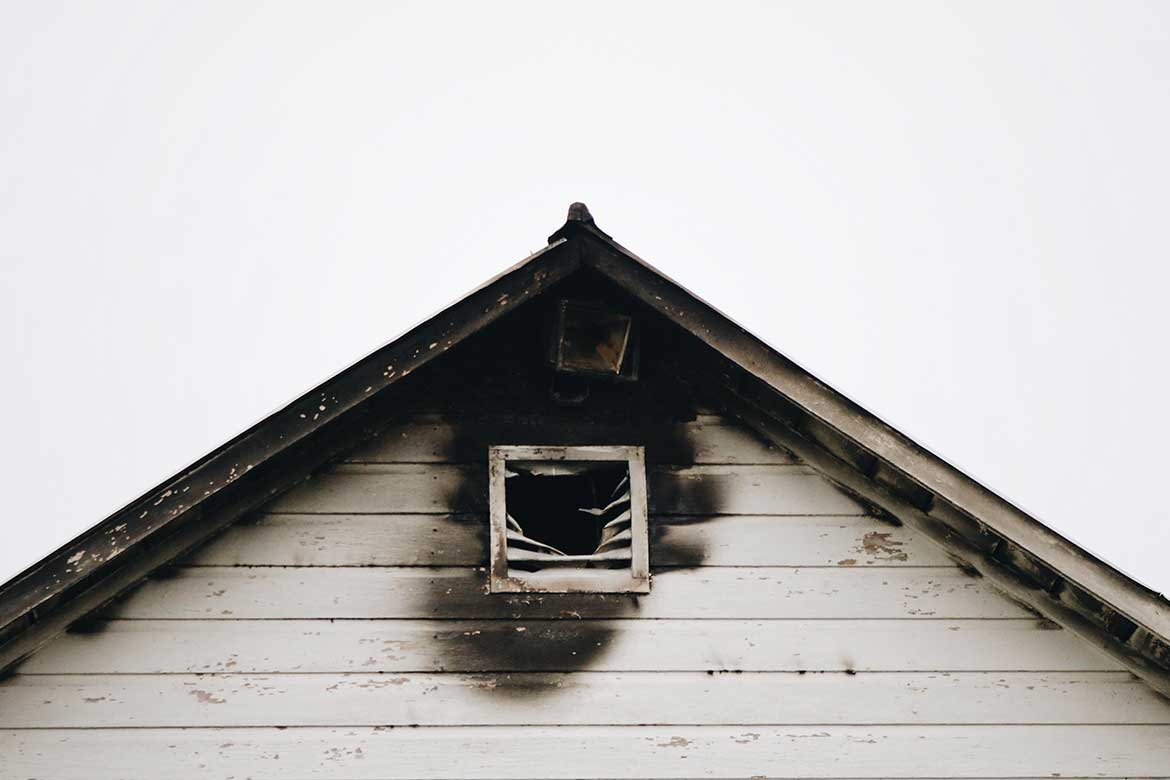 Fire damage to building