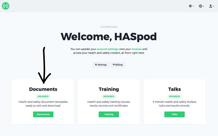 haspod user dashboard