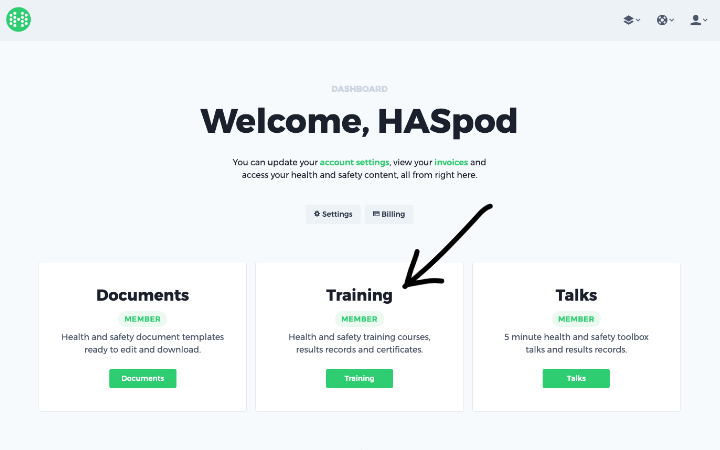 haspod dashboard training