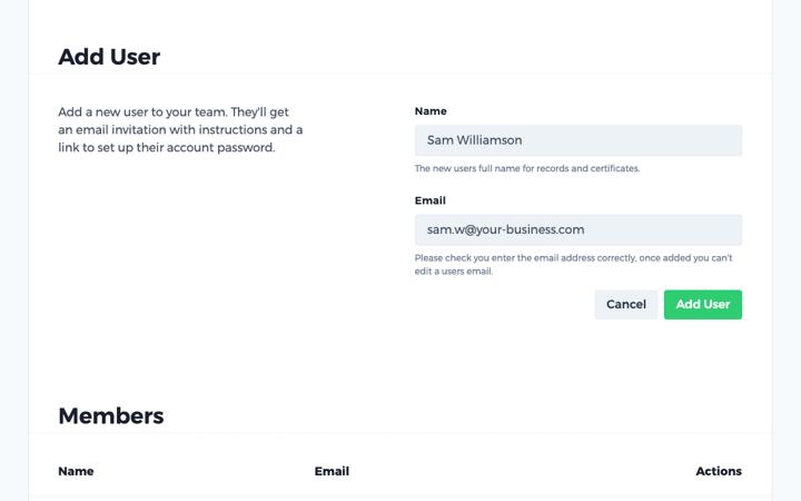 haspod team add user
