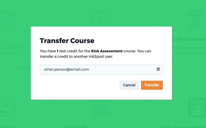 training transfer confirm