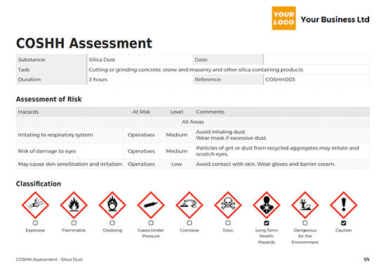 coshh assessment example