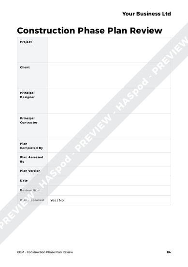 Construction phase plan review cdm template haspod for Cdm construction phase plan template