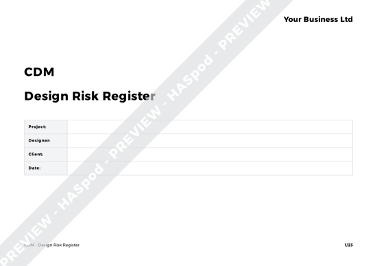 CDM Design Risk Register image 1