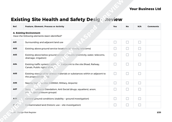 CDM Design Risk Register image 2