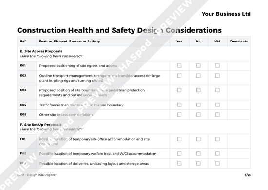 CDM Design Risk Register image 3