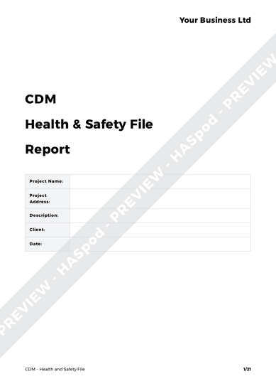 Cdm health and safety file template gallery template for Cdm health and safety file template