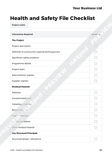 CDM Health and Safety File Checklist image 1