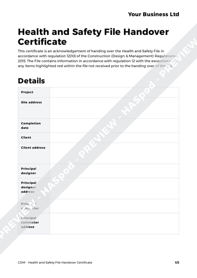 Health and safety file handover certificate cdm template for Cdm health and safety file template