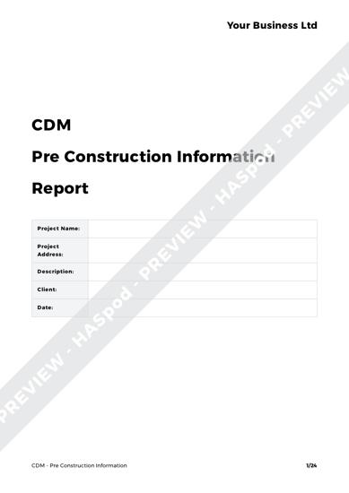 CDM Pre Construction Information image 1