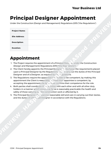 CDM Principal Designer Appointment image 1