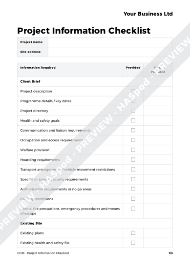 CDM Project Information Checklist image 1