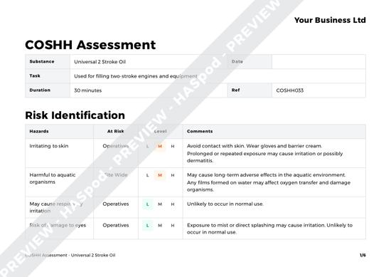 COSHH Assessment Universal 2 Stroke Oil image 1
