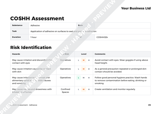 COSHH Assessment Adhesive image 1