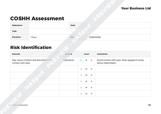 COSHH Assessment Blank image 1