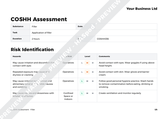 COSHH Assessment Filler image 1