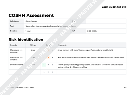 COSHH Assessment Glass Cleaner image 1