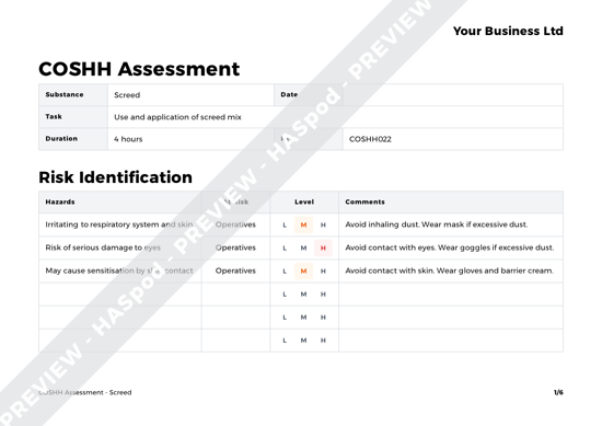 COSHH Assessment Screed image 1
