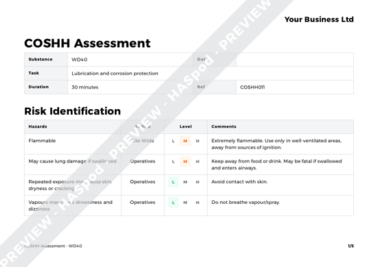 WD40 COSHH Assessment Template - HASpod