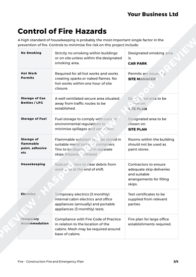 Construction Fire and Emergency Plan Fire Template
