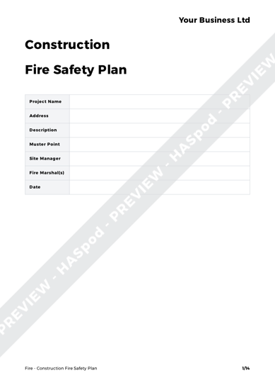 Fire Construction Fire Safety Plan image 1