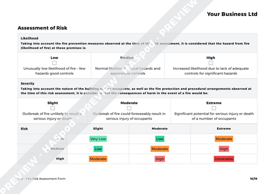 Fire Fire Risk Assessment Form image 3