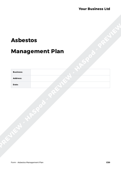 Form Asbestos Management Plan image 1