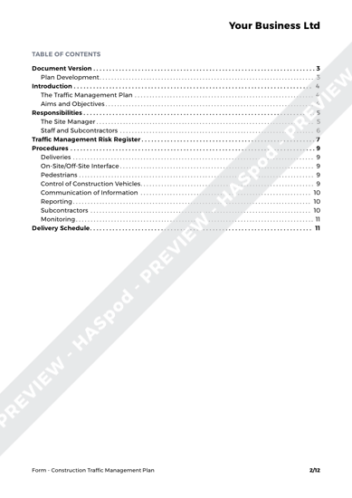 construction traffic management plan form template