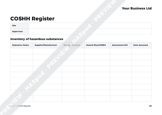 free COSHH register document screenshot
