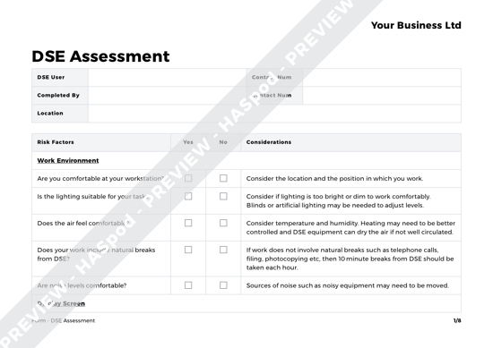DSE Assessment Form Template - HASpod