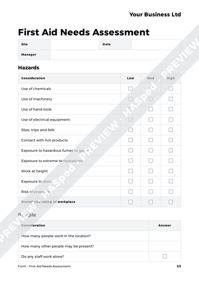 Form First Aid Needs Assessment Image 1  Needs Assessment Templates