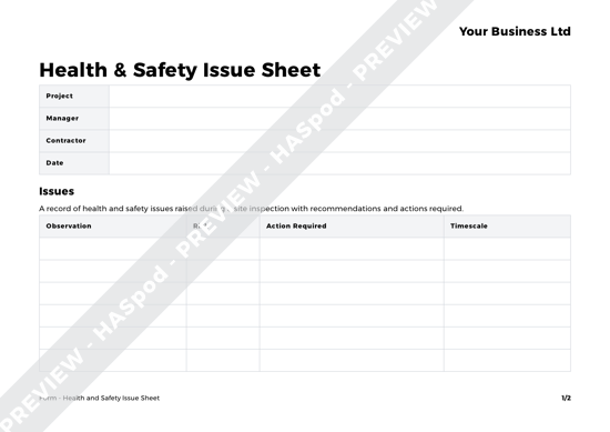 Health And Safety Issue Sheet Form Template Haspod