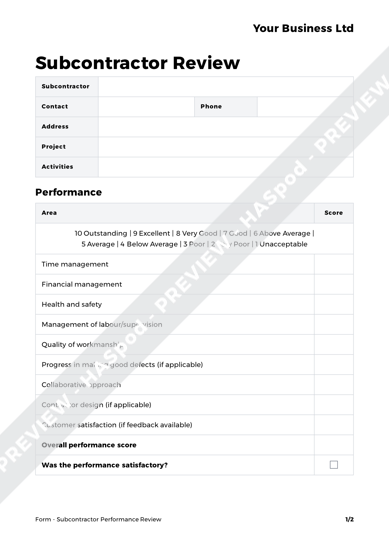 health and safety review template - subcontractor performance review form template haspod