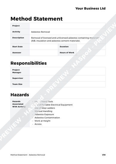 Method Statement Asbestos Removal image 1