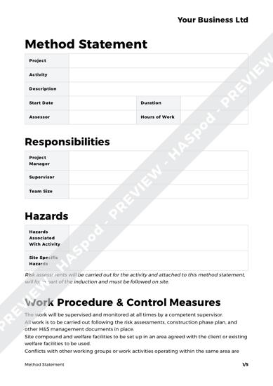 method statement template