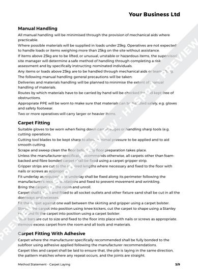 Method Statement Carpet Laying image 2