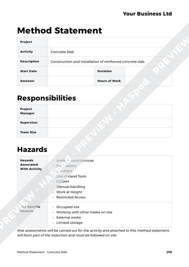 Concrete Slab Method Statement Template
