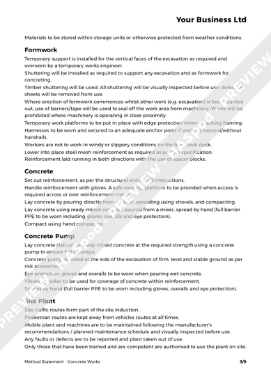 Concrete Works Method Statement Template