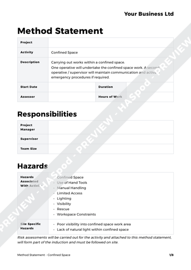 Confined Space Method Statement Template - HASpod