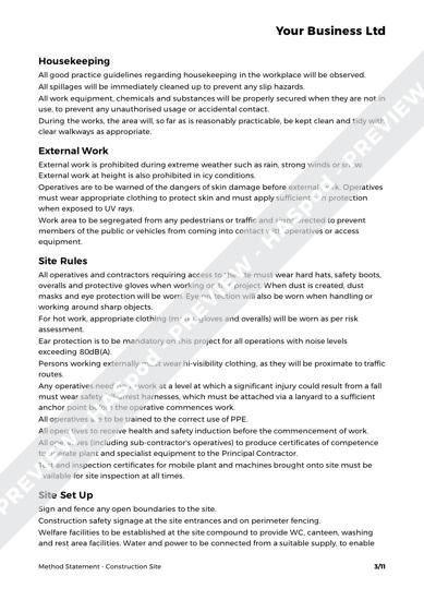 construction site method statement template