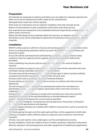 Method Statement Ductwork Installation image 2