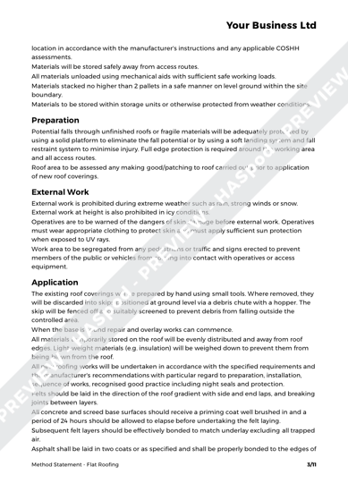 Flat Roofing Method Statement Template