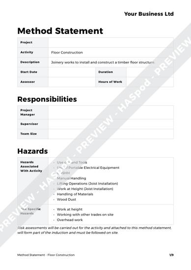 Floor Construction Method Statement Template - HASpod