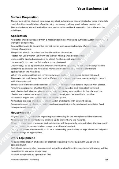 Method Statement Plastering image 2
