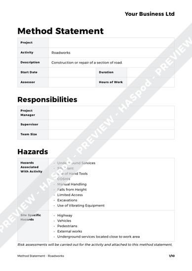 Method Statement Roadworks image 1