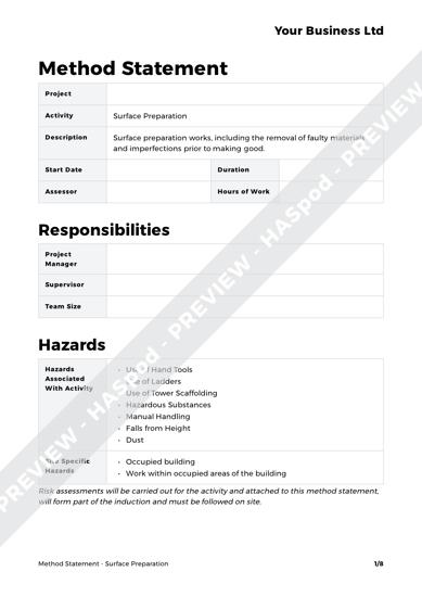 Method Statement Surface Preparation image 1