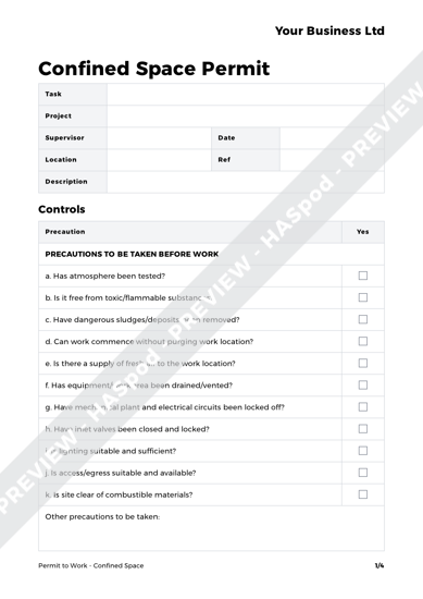 Confined Space Permit to Work Template - HASpod