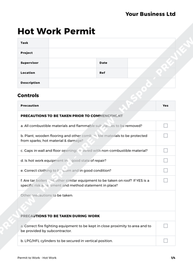 Hot work permit to work template haspod for Hot work permit template free
