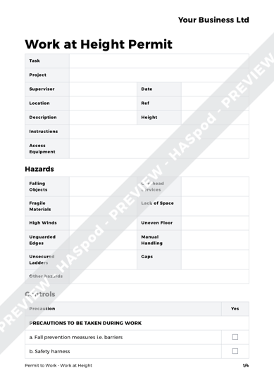 permit to work at height template - work at height permit to work template haspod