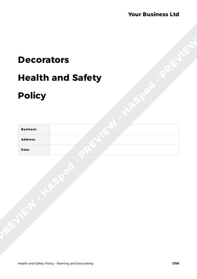 Health and Safety Policy Painting and Decorating image 1